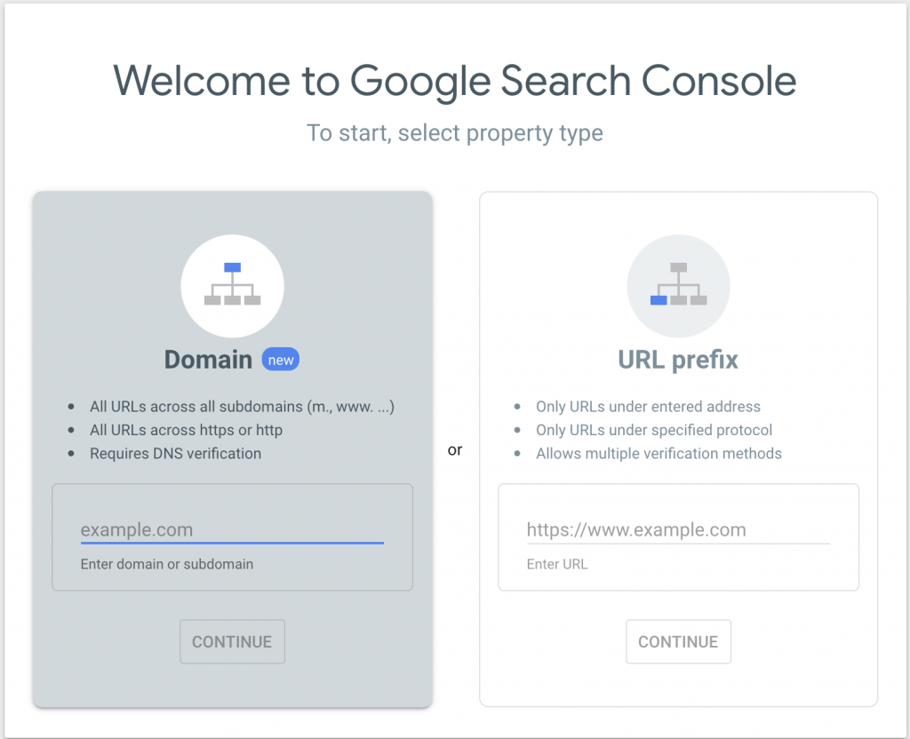 google search console screen
